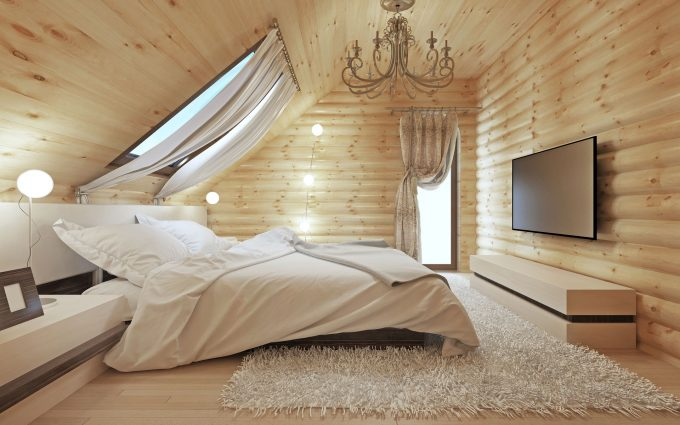 Schlafzimmer im Dachstuhl